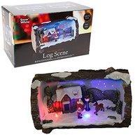 Snow White Branded Fibre Optic LED Log With Christmas Scene Inside - Santa