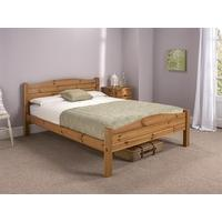 Snuggle Beds Elwood Antique 4\' Small Double Honey Antique Pine Wooden Bed