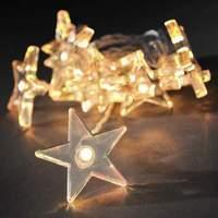Stunning string lights w. clear stars and LEDs 2 m