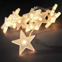 Stunning LED string lights with frosted stars, 2 m