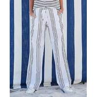 Stripe Linen Mix Straight Trousers Reg