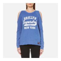 Superdry Women\'s Newton Cold Shoulder Crew Sweatshirt - 90\'s Mid Blue - S