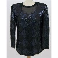 Sudi Creation, size M black bead and sequin blouse