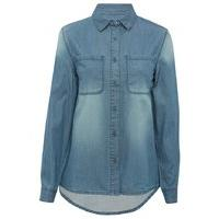 Teen girl light wash chambray denim style button down chest pocket shirt - Denim