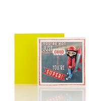 Think Happy Super Boy Blank Card