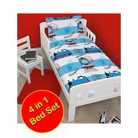Thomas the Tank Engine Adventure 4 in 1 Junior Rotary Bedding Bundle (Duvet Pillow Covers)