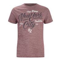 Threadbare Men\'s Brady New York T-Shirt - Burgundy - S