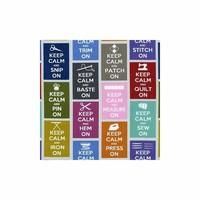 Timeless Treasures Keep calm sewing phrases fabric (per 0.5m multiple)