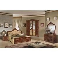 Tutto Mobili Luisa Radica Walnut Capitone Bedroom Set with 4 Door Wardrobe