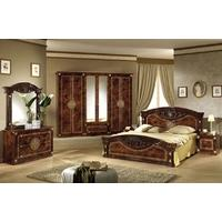 Tutto Mobili Roma Radica Walnut Bedroom Set with 4 Door Wardrobe