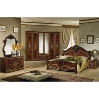Tutto Mobili Amalfi Radica Walnut Bedroom Set with 6 Door Wardrobe