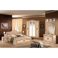 Tutto Mobili Luisa Radica Beige Capitone Bedroom Set with 4 Door Wardrobe