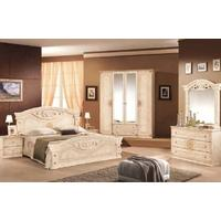 Tutto Mobili Roma Radica Beige Bedroom Set with 4 Door Wardrobe