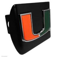 UNIVERSITY OF MIAMI U EMBLEM ON BLACK METAL USA MADE TRAILER HITCH COVER