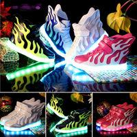 Upgraded Kids Casual Shoes Boys Girls LED Light 7 Colors Wing Luminous Sneakers