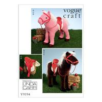 V9194 Vogue Patterns Plush Doll Horses with Saddle Bridle and Blanket 381006