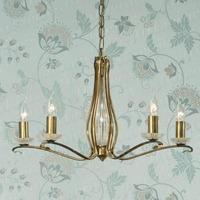 Venetia 5 Light Chandelier in Antique Brass