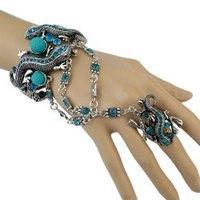 Vintage Faux Gem Rhinestone Gecko Bracelet with Ring For Women