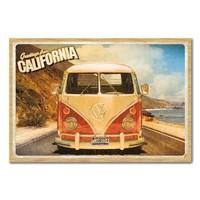 VW Camper California Postcard Poster Beech Framed - 96.5 x 66 cms (Approx 38 x 26 inches)