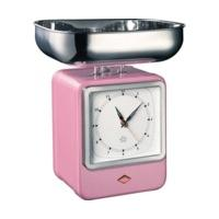 Wesco Retro Kitchen Scales with Clock Pink