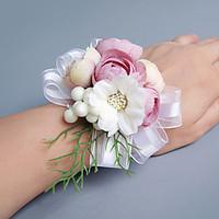 Wedding Flowers Free-form Lilies Peonies Wrist Corsages Wedding Party/ Evening Pink / Red / Peach / Purple Satin