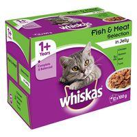 Whiskas 1+ Fish & Meat Selection in Jelly - 12 x 100g