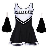 Wicked Ladies Cheerleader College Sports Fancy Dress Outfit with Pom Poms High School Musical Costume (Black, 6 - 8 S)