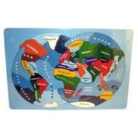 World Map - Handcrafted Wooden Jigsaw (Includes Storage Bag)