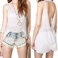 Women Sexy Tank Top Long Vest Plunging Back Sleeveless Backless Tops