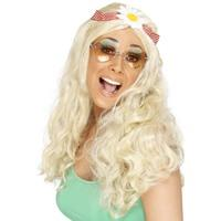 Women\'s Long Blonde Groovy Wig With Daisy Headband