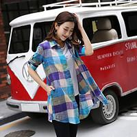 Women\'s Going out Party Sexy Cute Shirt, Solid Striped Check Classic Collar ½ Length Sleeve Cotton Linen