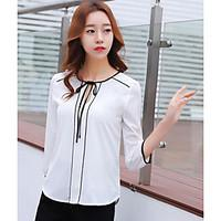 Women\'s Casual/Daily Simple Spring Summer Blouse, Solid Patchwork Round Neck ¾ Sleeve Others Thin