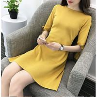 Women\'s Going out Beach Vintage Sheath Dress, Solid Round Neck Above Knee ½ Length Sleeve Cotton Spring Summer Mid Rise Micro-elastic