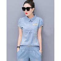 Women\'s Casual/Daily Street chic Spring Summer T-shirt Pant Suits, Solid Shirt Collar Short Sleeve Denim Micro-elastic