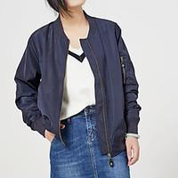 Women\'s Going out Casual/Daily Vintage Simple Spring Jacket, Solid Stand Long Sleeve Regular Others