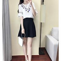 Women\'s Going out Casual/Daily Holiday Simple Sophisticated Summer T-shirt Skirt Suits, Solid Round Neck ½ Length Sleeve