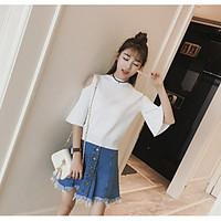 Women\'s Going out Casual/Daily Short Cardigan, Solid Round Neck ½ Length Sleeve Cotton Summer Medium Micro-elastic