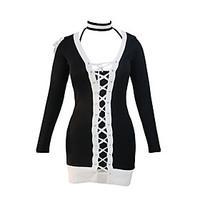 Women\'s ChokerLace Up Black White Lace Up Long Sleeve Choker Mini Dress