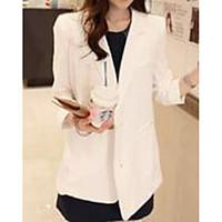 Women\'s Casual/Daily Simple Spring Blazer, Solid Notch Lapel Long Sleeve Long Polyester