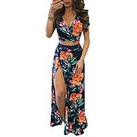 Women\'s Beach Street chic Bodycon Sheath Dress, Floral V Neck Maxi Short Sleeve Cotton Polyester Summer Mid Rise Micro-elastic Thin