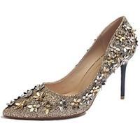 Women\'s Heels Light Up Shoes Comfort PU Spring Summer Casual Dress Light Up Shoes Comfort Stiletto Heel Gold Black Silver 2in-2 3/4in