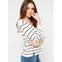 Womens Striped V-Neck Lattice Knitted Jumper, MULTI