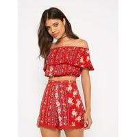 Womens Red Floral Print Crop Bardot Top, Red