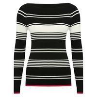 Women\'s Ladies long sleeve slim fit soft ribbed knit contrasting red hem Stripe print jumper
